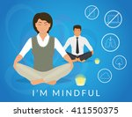 office people sitting in calm... | Shutterstock .eps vector #411550375