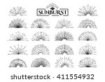 set of vintage sunburst. hand... | Shutterstock .eps vector #411554932