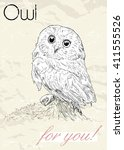 poster with owl. vintage style. ... | Shutterstock .eps vector #411555526