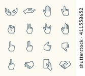 hand gestures line icon set | Shutterstock .eps vector #411558652