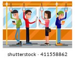 young people using smartphone... | Shutterstock .eps vector #411558862