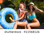 summer portrait of beautiful... | Shutterstock . vector #411568126