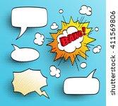 set of speech comic bubbles.... | Shutterstock .eps vector #411569806