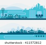 city skyline sets | Shutterstock .eps vector #411572812