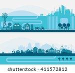 city skyline sets | Shutterstock .eps vector #411572812