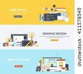 set of flat color design web...