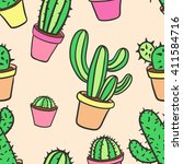 seamless pattern with cactus.... | Shutterstock .eps vector #411584716