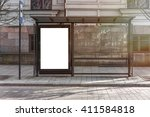 blank white mockup of bus stop... | Shutterstock . vector #411584818