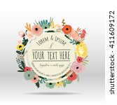 flower with typography design... | Shutterstock .eps vector #411609172