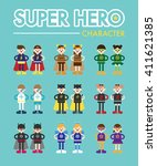 super hero character vector... | Shutterstock .eps vector #411621385
