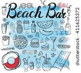 summer.beach bar menu.hand... | Shutterstock .eps vector #411625372