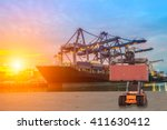 cargo ship loading containers... | Shutterstock . vector #411630412