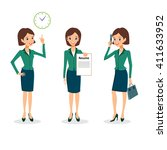 business woman character vector ... | Shutterstock .eps vector #411633952