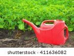 Red Watering Can And Growing...
