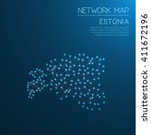 estonia network map. abstract... | Shutterstock .eps vector #411672196