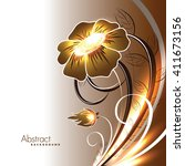 abstract vector shiny flower. | Shutterstock .eps vector #411673156