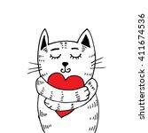 cute cat hugging heart. hand...   Shutterstock .eps vector #411674536