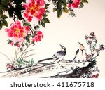 chinese ink painting bird and... | Shutterstock . vector #411675718