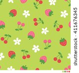 seamless pattern of strawberry  ... | Shutterstock .eps vector #411676345