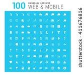 vector white 100 universal web... | Shutterstock .eps vector #411676816