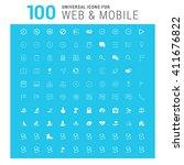 vector white 100 universal web... | Shutterstock .eps vector #411676822