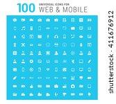 vector white 100 universal web... | Shutterstock .eps vector #411676912