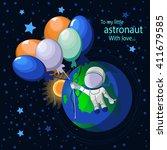 flight of the cosmonaut   Shutterstock .eps vector #411679585