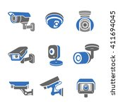 video surveillance security... | Shutterstock .eps vector #411694045