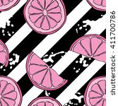 fruit. bright pink lemons.... | Shutterstock .eps vector #411700786