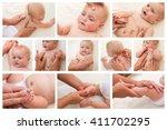 collage masseur doing massage... | Shutterstock . vector #411702295