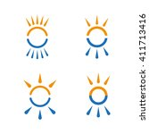 hot and cold symbol set. sun...