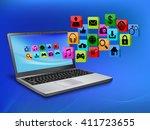 social media networking laptop... | Shutterstock . vector #411723655