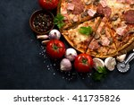 pizza with sausage and cheese... | Shutterstock . vector #411735826