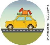 travel car flat illustration | Shutterstock .eps vector #411738946