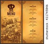 restaurant menu design. vector... | Shutterstock .eps vector #411745846