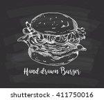 hand drawn burger on chalkboard ... | Shutterstock .eps vector #411750016