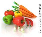 fresh vegetables with green... | Shutterstock . vector #411763852