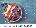 greek yoghurt with superfoods... | Shutterstock . vector #411764038
