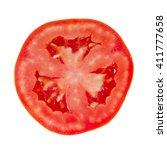 tomato slice isolated on white... | Shutterstock . vector #411777658