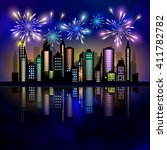 fireworks over the city.... | Shutterstock .eps vector #411782782