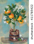 orange tree with flowers and...   Shutterstock . vector #411785422