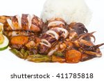 squid grilled with vegetables...   Shutterstock . vector #411785818