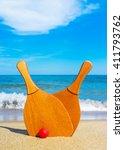set for a game of beach tennis...   Shutterstock . vector #411793762