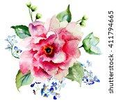red gerber flower  watercolor... | Shutterstock . vector #411794665
