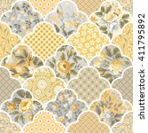 floral seamless patchwork... | Shutterstock .eps vector #411795892