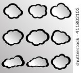 cloud vector icon set silver... | Shutterstock .eps vector #411802102