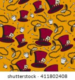 Stock vector seamless vector pattern alice in wonderland hat mad hatter tea cup and pocket watches 411802408