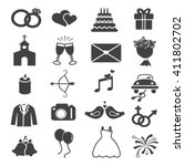 wedding icons set | Shutterstock .eps vector #411802702
