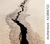 aerial view of cracked road... | Shutterstock . vector #411806722