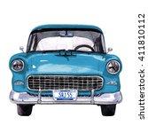 retro car  watercolor hand... | Shutterstock . vector #411810112